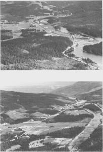 Aunegrenda er et sletteområde. Her renner Nea i slakke buktninger. I bakgrunnen er Svelmo og Lian. Landskapet stiger her oppover mot Ås. Bildet er tatt i 1960-åra.