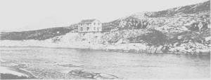 Alt i 1917 ble det satt opp en ingeniørbolig ved grensa i tilfelle oppdemming av Nea. Bildet er tatt 5. aug. 1917.