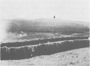 Leif Stuedal tok dette bildet i 1933, og han mente at ruiner på toppen av Gråsida (der pilen peker), stamma fra ei vardehytte. Mer sikkert er det at det har vært holdt vardevakt på Vektarhaugen (til venstre utafor bildet). Bak hesjene vises jordvollen på Stugudal skanse.