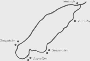 Midt på 1800-tallet var det blitt åtte gardsbruk ved Stugusjøen.