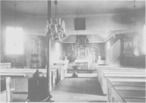 Interiør av Tydal kirke i 1930-åra.