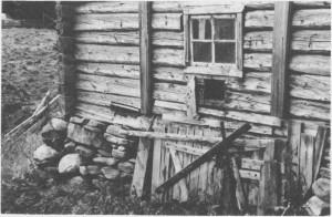Slike møkkglugger i veggen ser en mange steder på de gamle fjøsa. Husdyrgjødsla ble måka ut gjennom gluggen og ble liggende ute til den ble kjørt på jordene om våren. Bildet er fra Hilmohaugen og er tatt i 1987.