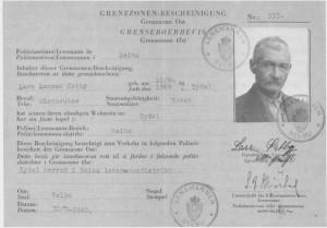 Grensesonebeviset til Lars Larsen Østby, utstedt 30. juli 1940.
