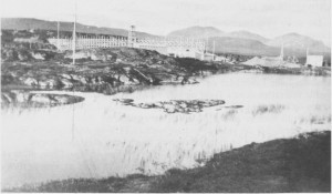 Starten på damanlegget i 1950 - 51 som skulle skape en ny, kunstig innsjø, Sylsjøen.