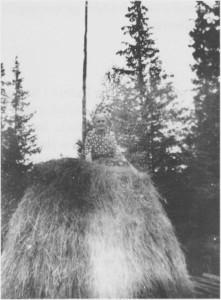 Ei av de siste «stakk-kjerringer» i Tydal, Marie Bjørgen, i 1948. Bruket Bjørgen hadde lite innmarksareal og måtte ty til markaforet. Det ble slått og stakka høy i utmarka til de slutta med kyr noen år etter krigen.