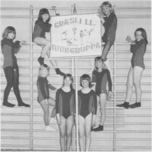 Turngruppa i Græsli idrettslag var aktiv i 1970-åra. Senere tok handballinteressen helt over. (Foto Selbyggen.)