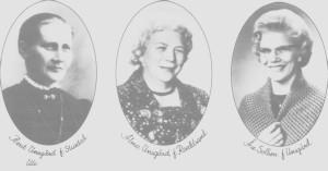 Tre generasjoner av jordmødre. Fra venstre Berit Unsgård f. Stugudal, Alma Unsgård, f. Roaldsand og Åse Sollien f. Unsgård.