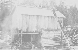 Taktekking i 1919 på kvernhuset ved Væla elv på Aune. Fire av Aune-gardene gikk sammen om bygginga, og kverna ble brukt i flomtida vår og høst.