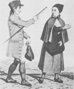 Mann og kone fra Tydal i stask lær men neppe helt vanlig <folkedrakt». Etter tegning av J. F. L. Dreier (17751833).