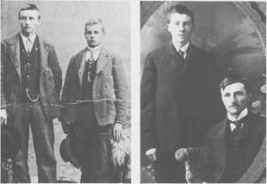Mens det til å begynne med var mange familier som emigrerte, ble det etter hvert flere ugifte ungdommer. Over halvparten av disse var menn. Til venstre har Anders Olsen Græsli latt segfotografere ved utreisa i Trondheim i 1901. Han står sammen med Peder Estensen Myrmo (til høgre), som fulgte han til Amerikabåten. Bildet ti! høgre er tatt i Toronto, USA, og viser Anders (sittende) sammen med broren sin, Jon. Han kom etter i 1902 og var bare 16 år da han emigrerte. Som vi ser, har de fått seg nye og mer moderne klær i Amerika.