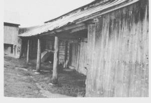 På den tidligere husmannsplassen Brekka (Stor-Brekka) kan en fremdeles se det karakteristiske «snetaket» i tilknytning til fjøsbygninga. Bildet er tatt i 1987.