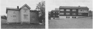 Bønstrøa til venstre reknes som kommunens gamle administrasjonsbygg, men kontora var delvis heime hos dem som hadde de kommunale verva. Nytt her- redshus (til høgre) sto ferdig i 1960 og samla kontora på ett sted.